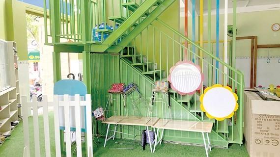 Khu đất thừa chưa được 10m² đang làm cầu thang sử dụng tạm tại Trường Mầm non Misa