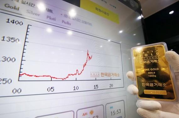 Biểu đồ giá vàng tại một sàn giao dịch vàng ở thủ đô Seoul (Hàn Quốc). (Nguồn: Yonhap/TTXVN)