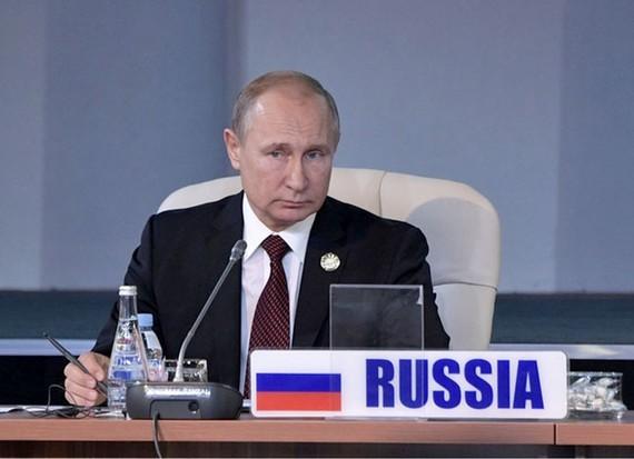 Tổng thống Nga Vladimir Putin tham dự phiên họp của Hội nghị thượng đỉnh BRICS tại Johannesburg, Nam Phi ngày 27-7. Ảnh: Reuters