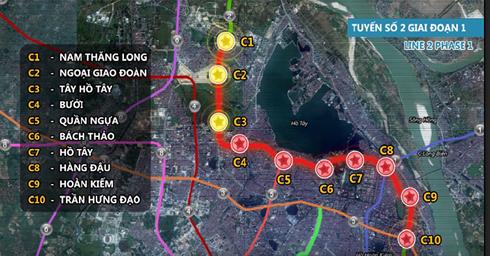 Sơ đồ tuyến đường sắt đô thị số 2 Hà Nội. (Ảnh: ANTĐ)