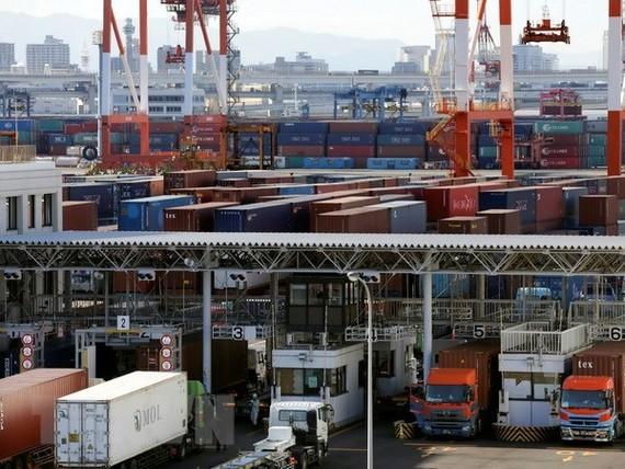 Bốc dỡ container hàng hóa tại cảng Tokyo, Nhật Bản. (Nguồn: EPA/TTXVN)