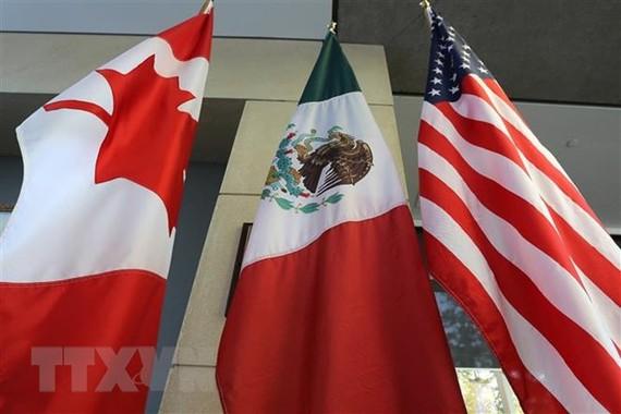 Quốc kỳ Canada, Mexico và Mỹ tại vòng 3 tái đàm phán NAFTA ở Ontario, Canada ngày 24/9/2017. (Ảnh: AFP/TTXVN)