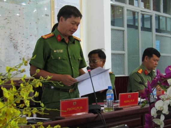 Trung tá Hồ Hoàng Thanh, Phó trưởng Phòng PC 45, Công an tỉnh Bình Dương báo cáo về thủ đoạn lừa đảo mới