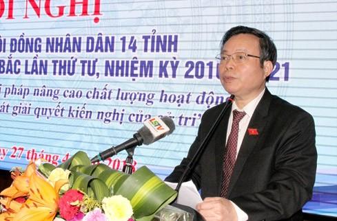 Phó Chủ tịch Quốc hội Phùng Quốc Hiển phát biểu tại hội nghị