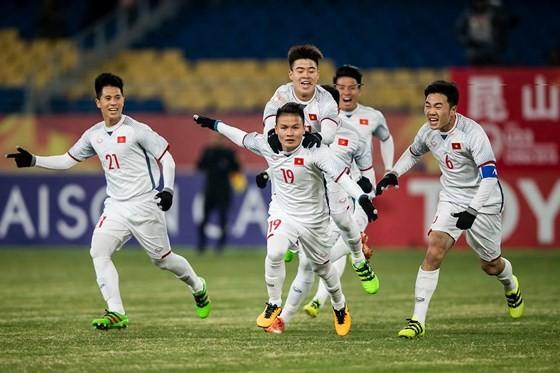 Phút mừng vui chiến thắng của các cầu thủ U23 Việt Nam
