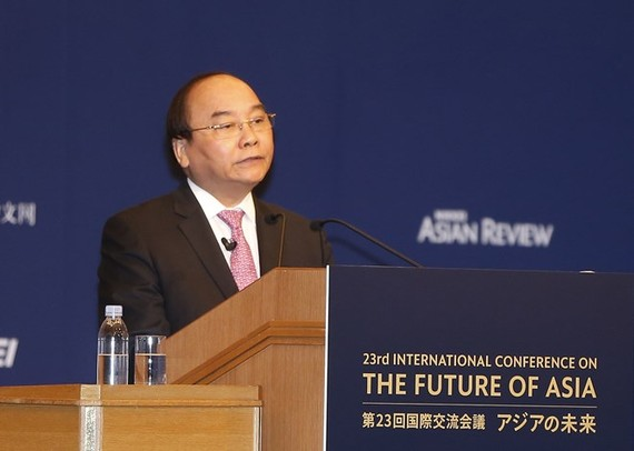 Prime Minister Nguyen Xuan Phuc speaks at the 23rd International Conference on the Future of Asia (Photo VNA)
