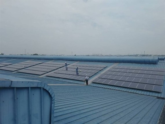 The first rooftop solar power system at the New Port-Song Than Inland Clearance Deport in Binh Duong province. (Photo: SolarBK)
