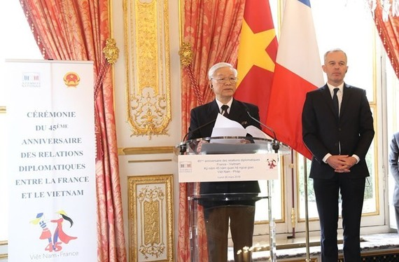 Party General Secretary Nguyen Phu Trong speaks at the ceremony. (Source: VNA)
