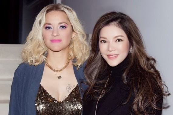 "Ly Nha Ky (R) and Marion Cotillard - the star of ""Angel Face"" (Photo: VNA)"