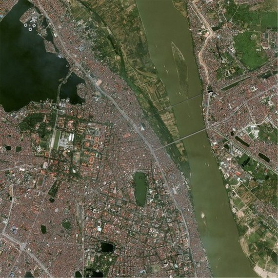 A photo of Hanoi taken by the VNREDSat-1 Illustrative image (Photo: VNA)