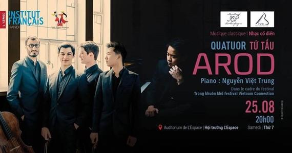 """Golden piano boy"", the Paris-based Arod Quartet to perform in Hanoi"