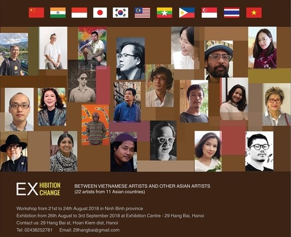 Asian artists gather at an art exhibition in Hanoi