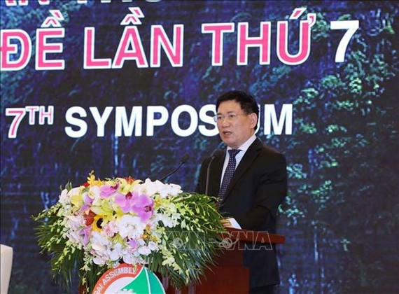 ASOSAI Chairman in the 2018-2021 term Ho Duc Phoc speaks at the closing ceremony (Source: VNA)