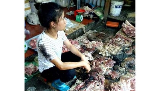 Do Thi Xuyen and her pork after Dung and Hoa splash sewaage water and lubricant into (Photo: SGGP)