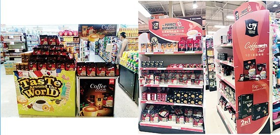 Trung Nguyen coffee products are displayed in China (Photo: SGGP)