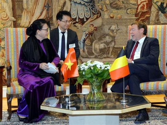 National Assembly Chairwoman Nguyen Thi Kim Ngan (L) meets President of the Chamber of Representatives of Belgium (Source: VNA)