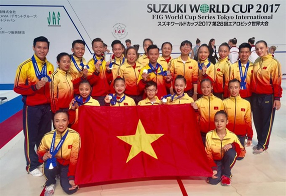 Vietnamese aerobic team at the FIG World Cup in Tokyo (Photo: VNA)