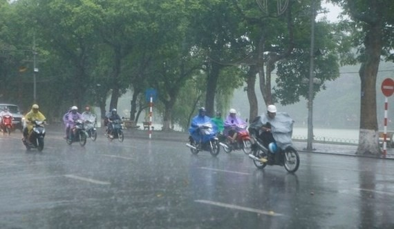 People enjoys rains after the recent serious hot air