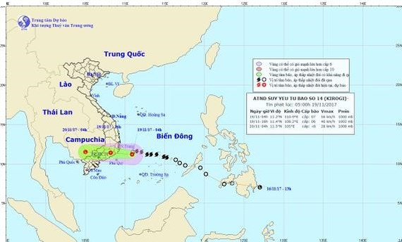 Position of the tropical- low depression (Source: NMHFC)