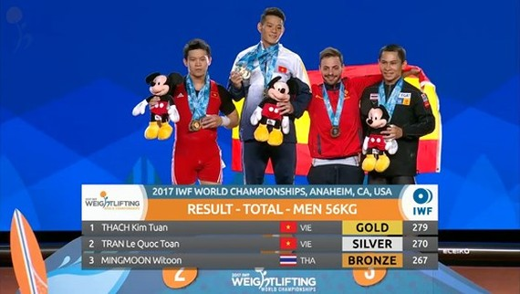 Thach Kim Tuan grabs three gold medals at World Weightlifting Championships 2017 in the United States of America