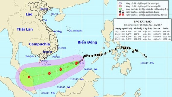 Position of the 15th storm hitting the East Sea this year (Photo: The National Hydrology Meteorology Forecast Center)