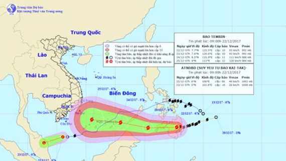 Position of typhoon kai-tak and Tembin