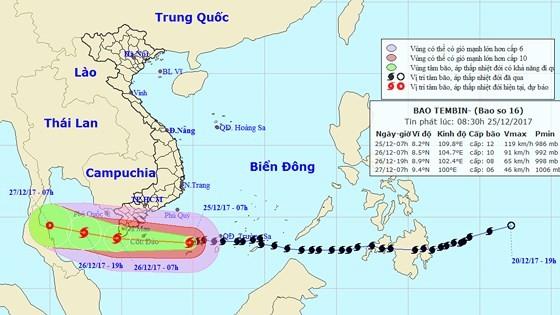 Position of Tembin near the southern seashore of Vietnam (Photo:NHMFC)