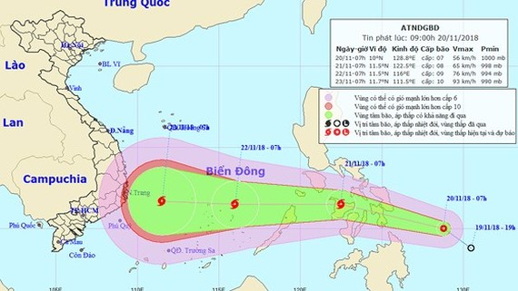 Position of low pressure system in the East Sea (Photo: NHMFC)