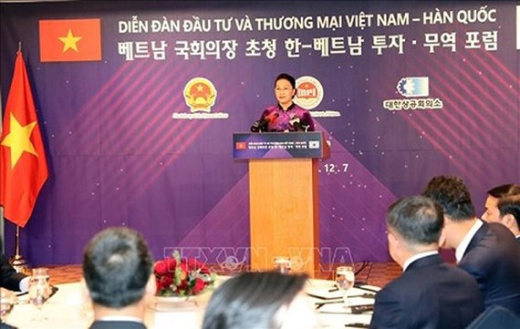 Chairwoman of National Assembly of Vietnam Nguyen Thi Kim Ngan speaks at the Vietnam –RoK investment and trade forum (Photo:VNA)