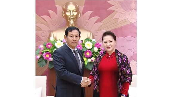 Chairwoman of the National Assembly of Vietnam Nguyen Thi Kim Ngan receives chairman of the Union Solidarity and Development Party U Than Htay
