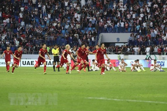 Vietnam has convincing win 4-2 over Jordan on January 20 to advance to the quarterfinals of the AFC Asian Cup.(Photo: VNA)