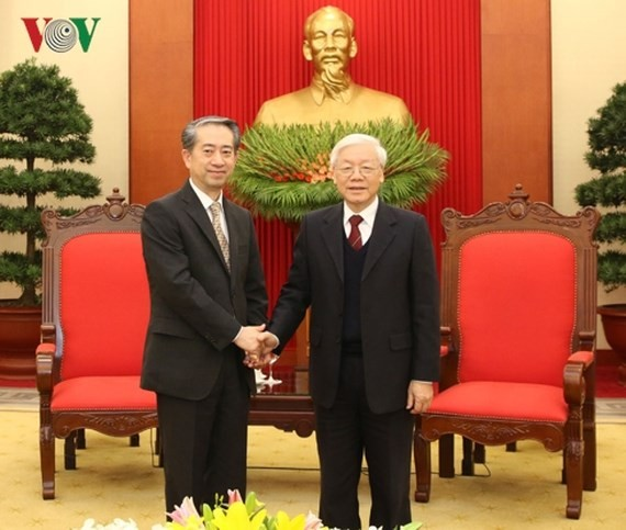 Communist Party Secretary General ,  President of Vietnam Nguyen Phu Trong (R) and  China Ambassador to Vietnam Xiong Bo (Photo: VOV)