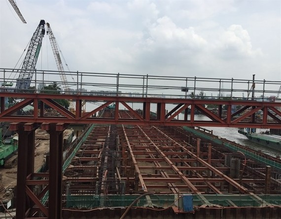 The under-construction Tan Thuan sewage system in District 7 is a major flood prevention project in HCM City (Photo: VNA)