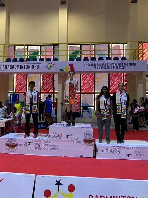 Vu Thi Trang of Vietnam on the podium of the JE Wilson International Series badminton tournament which ended in Accra, Ghana, on July 21 - Photo courtesy of Vu Thi Trang