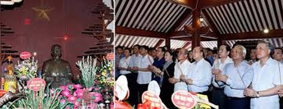 PM Nguyen Xuan Phuc (4th from right) and NA Chairwoman Nguyen Thi Kim Ngan (6th from right) at the event (Photo: VNA)
