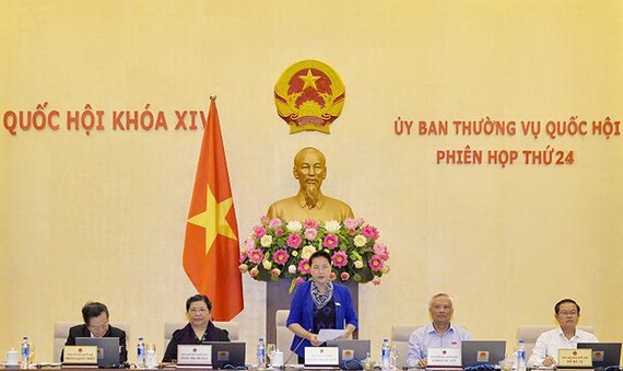 國會主席阮氏金銀在會議上致開幕詞。(圖源:國會新聞網)