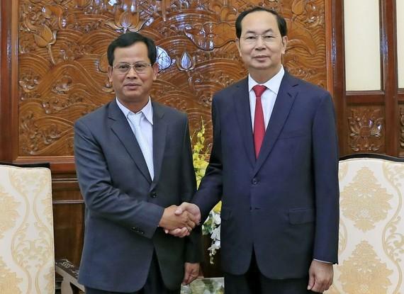 國家主席陳大光接見老撾人民民主共和國安全部副部長貢通‧豐維吉。(圖源:顏創)