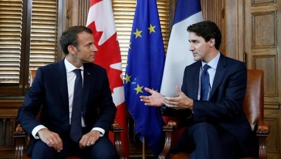 馬克龍會晤加拿大總理特魯多。(圖源:路透社)