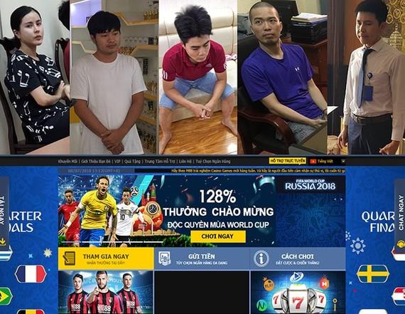 上圖:被扣留的5名嫌犯。下圖:足球賭網截圖。(圖源:PLO)