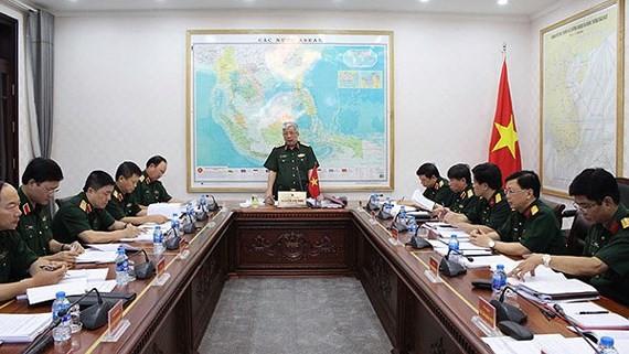 圖為2018年越南國防白皮書編纂指委會會議現場一瞥。(圖源:國防部)