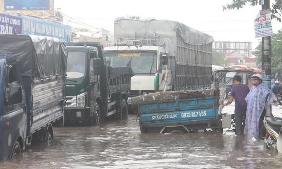 昨(12)日中午,同奈省邊和市降起了傾盤大雨,導致該市多個地方嚴重受淹。