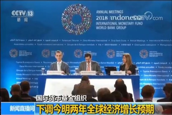 IMF下調今明兩年世界經濟增長預期。(圖源:CCTV視頻截圖)