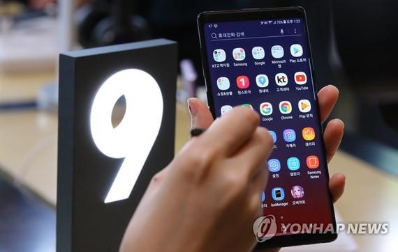 三星 Galaxy Note 9 在韓銷量破百萬。(圖源:韓聯社)