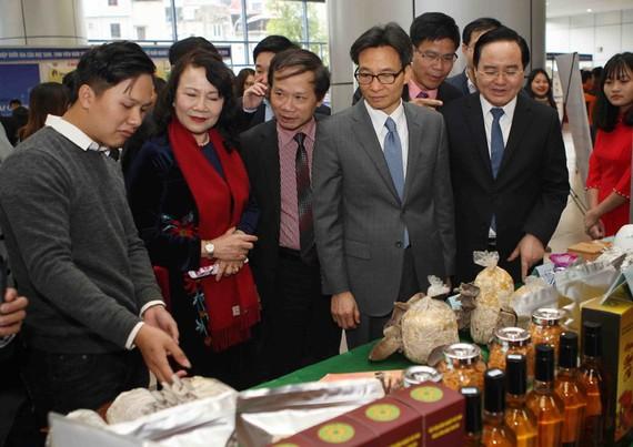 武德膽副總理(左四)參觀大學生創業項目展位。