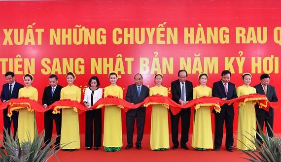 政府總理阮春福(中)出席新年首批出口商品的剪綵儀式。(圖源:光孝)