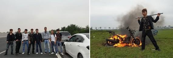 K.B.在YouTube頻道上的圖片獲得一部分年輕人高呼讚賞(在高速公路上橫排站著拍照、如焚燒車輛)。(圖源:互聯網)