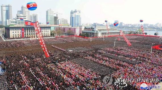 朝鮮舉辦大型活動,慶祝金正恩再次被推舉為國務委員會委員長。  (圖源:韓聯社/朝中社)