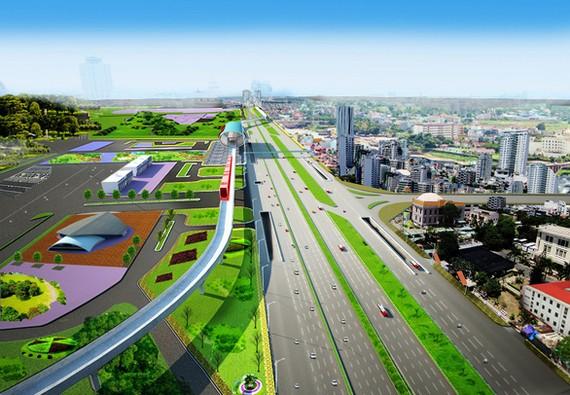 新东区车站前高架桥配景图。(图源:玉印)