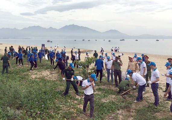 Các đại biểu tham gia lượm rác trên bãi biển đường Nguyễn Tất Thành, Đà Nẵng
