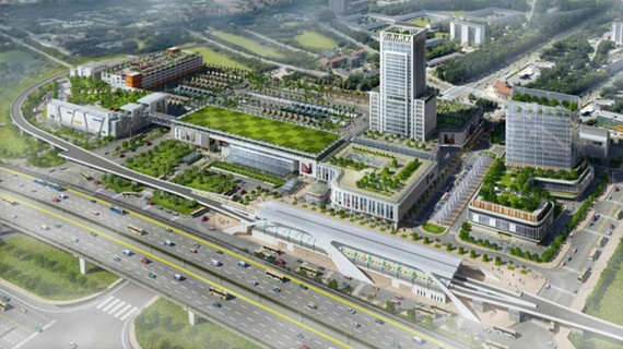An artists' impression of new Mien Dong coach station in District 9, HCMC